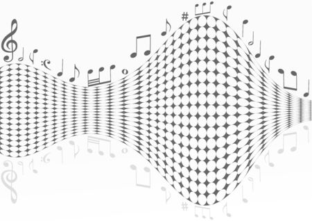 Abstract dotted background with music notes
