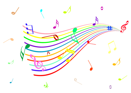 Abstract illustration of a stave with music notes Vectores