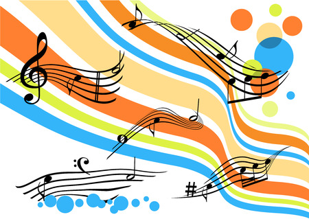 Conceptual abstract background with curvy colored stripes and stave Vector