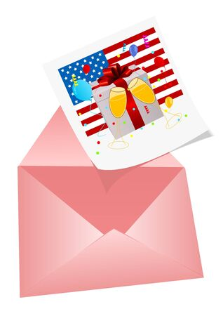 4th July Illustration with photo and envelop Vector
