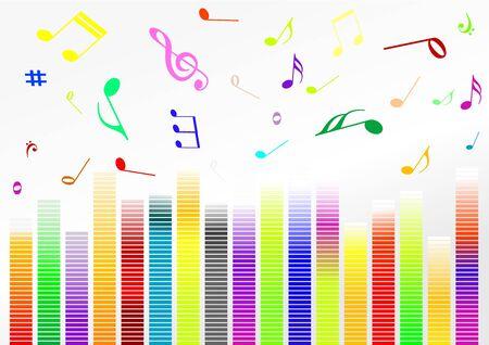 Illustrazione astratto con barre del volume e note di musica