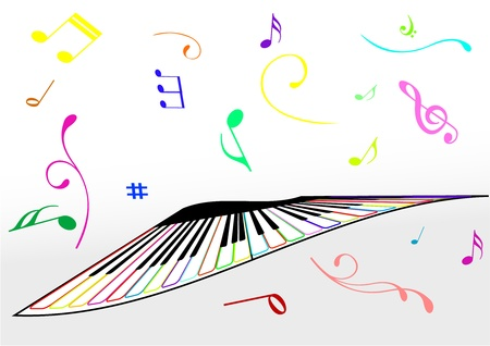 Illustration of a piano and music notes Illustration