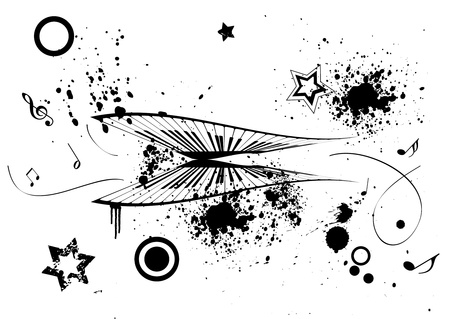 g spot: Grunge Illustration of a piano and music notes