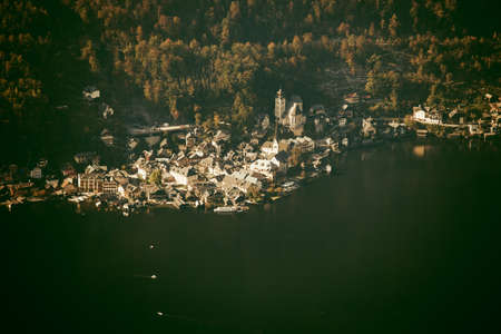 mammoth lakes: Aerial view of Hallstatt lake and town, Austria
