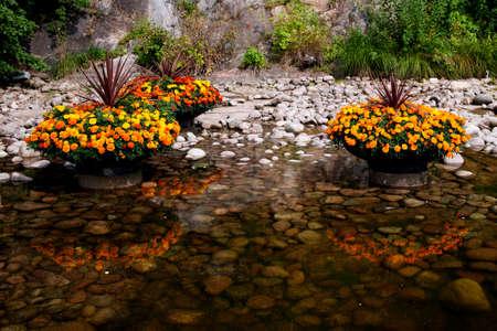 jardineras: Plantadores de flores por el lago Foto de archivo