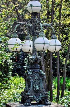 ice dam: Lamp post in a park in Salzburg, Austria