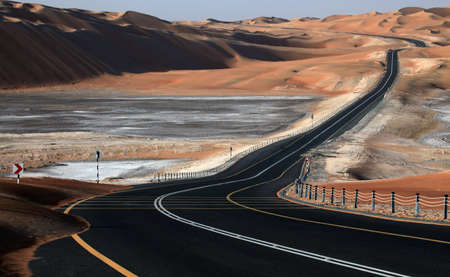 Desert road in Liwa, United Arab Emirates