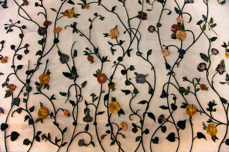 stonework: Beautiful stonework, flowers made of stone, inside a mosque