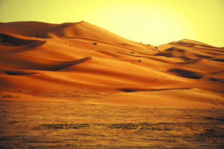 ocean sunset: Amazing sand dune formations in Liwa oasis, United Arab Emirates Stock Photo