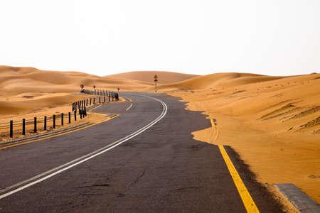 curve road: Winding black asphalt road through the sand dunes of Liwa oasis, United Arab Emirates Stock Photo