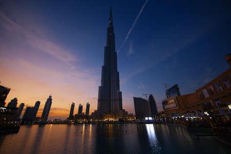 united arab emirates: Sunset in downtown Dubai, United Arab Emirates