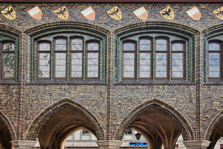 old building facade: Old building facade in Lubeck, Germany Stock Photo