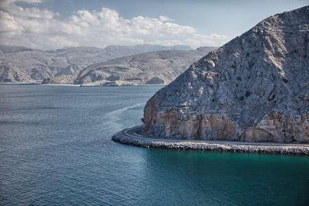 musandam: Amazinc coastal scenery near Khasab, in Musandam peninsula, Oman Stock Photo