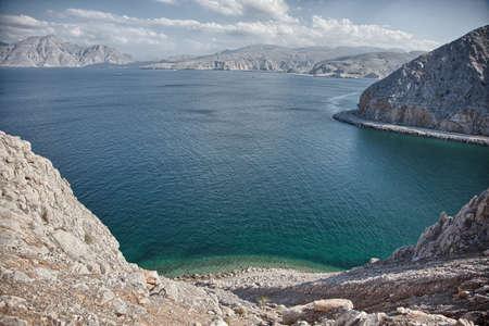 musandam: Amazing coastal scenery near Khasab, in Musandam peninsula, Oman Stock Photo