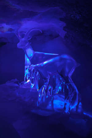 mountain goats: Ice sculptures: mountain goats made of ice Stock Photo