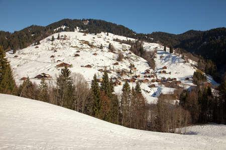 interlaken: Small village and amazing mountain scenery near Interlaken, Switzerland