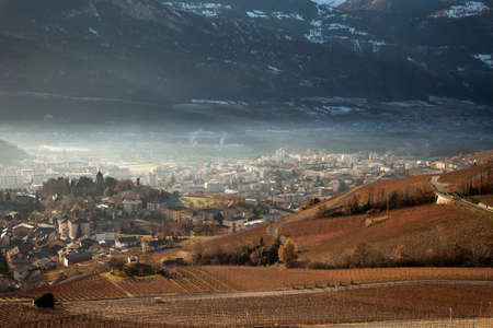 Views of Sierre and the Alps from Crans-Montana, Switzerland