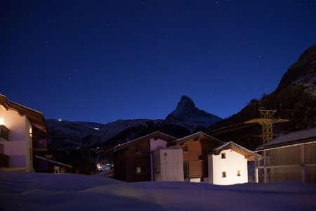 pyramid peak: Night views of Matterhorn from Zermatt, Switzerland
