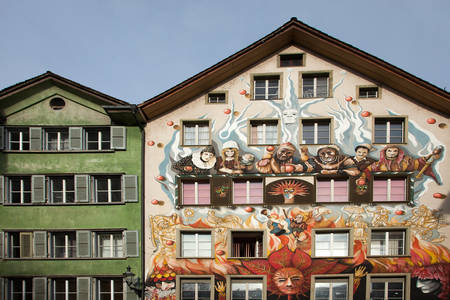 murals: Amazing murals (wall paintings) downtown Luzern, Switzerland Editorial