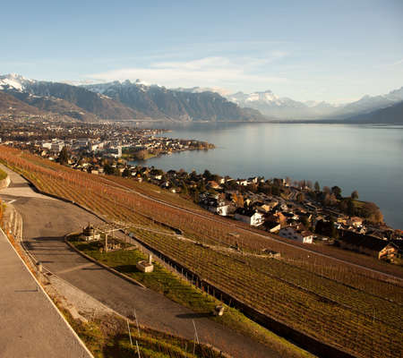 montreux: Lake Geneva (Lac Leman) with Montreux in the background