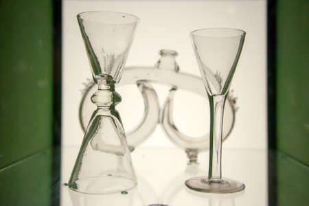 Vintage glass cups (old glasswork) from Stockholm, Sweden Фото со стока