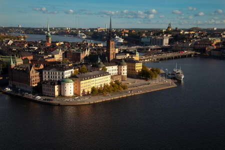 Aerial view of the old town (Gamla Stan) of Stockholm, Sweden