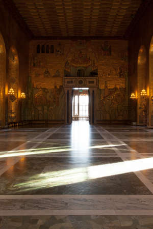 Beautiful interior details at the Stockholm's City Hall, Sweden Редакционное
