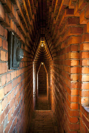 Narrow brick corridors inside the Stockholm's City Hall Tower, Sweden