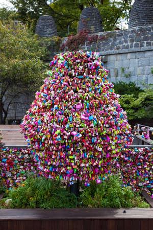 Love locks tree in Seoul, South Korea