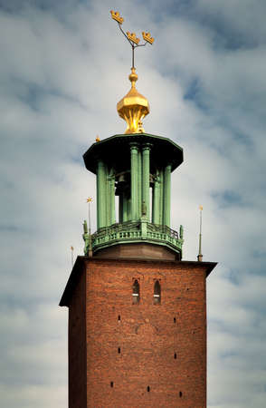 Close-up views of the City Hall's tower (Stadshuset) in Stockholm, Sweden Фото со стока