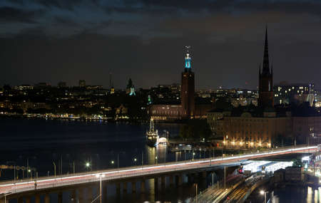 Night views of the old town (Gamla Stan) of Stockholm, Sweden