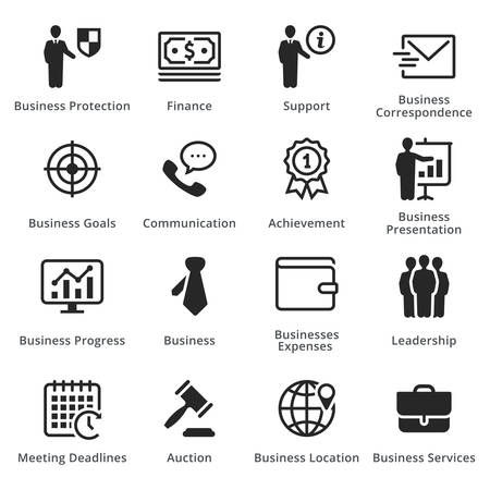 Collection of business concept icons.