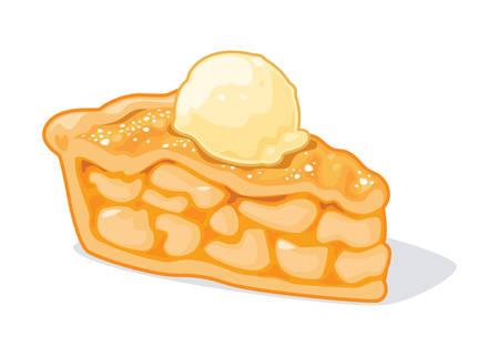 Delicious Apple Pie with Ice Cream Stock Illustratie
