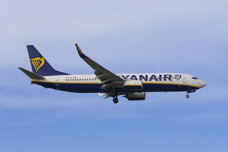 PISA, ITALY - JANUARY 15, 2017 - A Ryanair Boeing 737-600 lands at Pisa Airport (Galileo Galilei) Editorial
