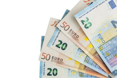 Euro banknotes fan isolated Stock Photo