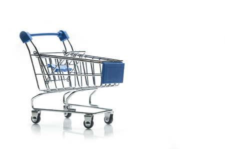 Shopping cart with blue details isolated on white background with copy space