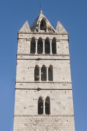 Duomo of Carrara. Toscana, Italy. Tower detail.