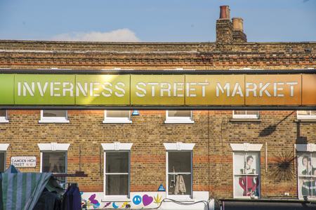 LONDON, UNITED KINGDOM - JUNE 03, 2019 - The Inverness Street Market sign in Camden Town London