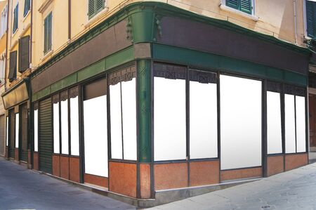 Old style shop in green iron with customizable blank windows Reklamní fotografie