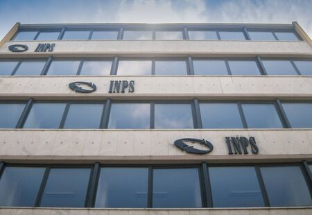 CARRARA, ITALY - JUNE 16, 2019: The building of the INPS headquarters, the national social security institute that deals with providing pensions and collecting labor contributions Redakční