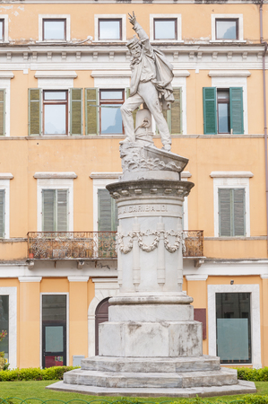 View of Carrara, marble monument to Giuseppe Garibaldi, Italian general also known as the hero of the two worlds