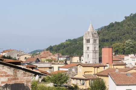 Carrara, Tuscany: view of the historic center with the bell tower of the Cathedral of San Andrea