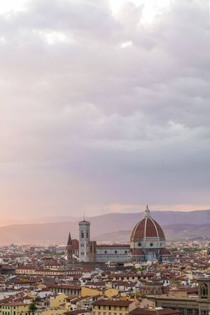 Panoramic view of Florence photographed at sunset from Piazzale Michelangelo