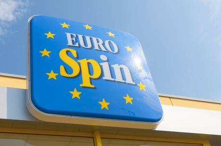 LA SPEZIA, ITALY - JUNE 24, 2019: The entrance to a Eurospin supermarket. Eurospin is a large retail brand in Italy and Slovenia