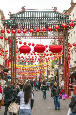 LONDON, UK - JANUARY 24, 2011: Gerrard Street in Londons China town decorated with chinese lanterns for celebrate of the Chinese New Year Redakční