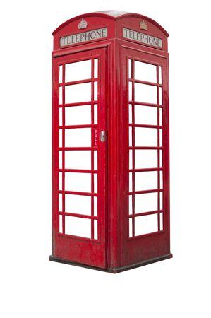 British telephone booth isolated on white background