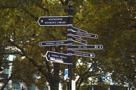 London, uk - october 11, 2009: London street post sign with directions to the most popular locations