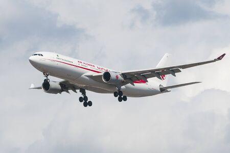 Heathrow, England - June 29, 2019 - Air Algerie Airbus A330-200 approach to land at Heathrow airport in London Redakční