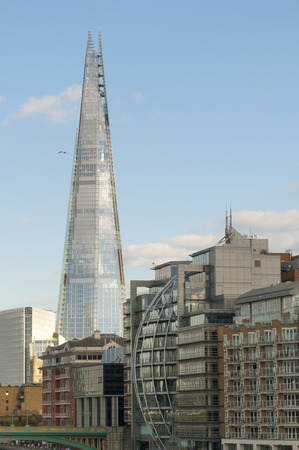 The tallest building in the United Kingdom, the Shard, photographed from an unusual perspective Redakční