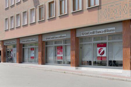 Massa, Italy - July 01, 2019 - A branch of the Unicredit Banca di Roma bank